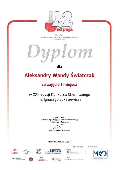 Konkurs chemiczny - Aleksandra Świątczak IŁ