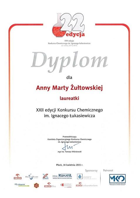 Konkurs chemiczny - Anna Żułtowska IŁ