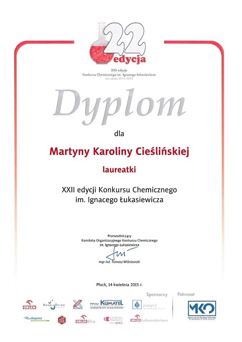Konkurs chemiczny - Martyna Cieślińska IŁ